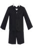 Black Linen Eton Jacket & Shorts Easter Spring Outfit 4 Pc Little Boys (G828)