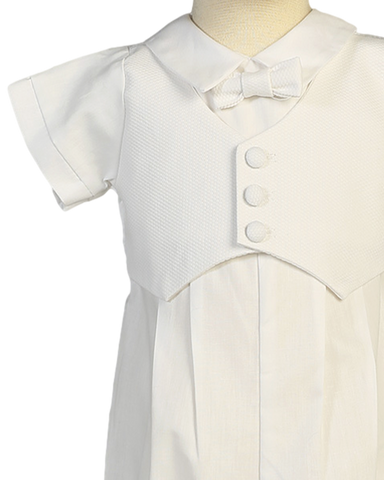 Cotton Coverall w Pique Vest & Cap Christening Outfit (Tyler)