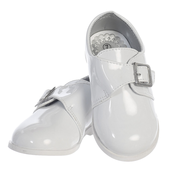 White Patent Dress Shoes with Velcro Strap Toddler Boys (Ryder)