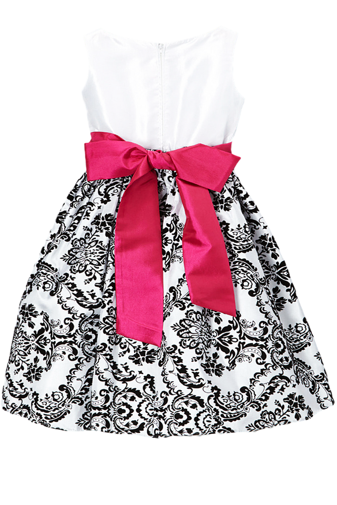 12ed3999d9d2 ... Black Flocked Damask on White Taffeta Baby Girls Christmas Dress (294)  ...