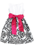 Black Flocked Damask on White Taffeta Baby Girls Christmas Dress (294)