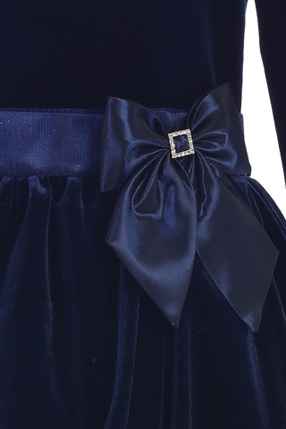 Navy Blue Velvet Drop Waist Girls Holiday Dress w. Bubble Hem  C995