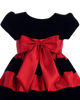 Black Velvet & Red Flocked Taffeta Girls Christmas Holiday Dress (C925)