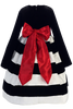Black Velvet & White Striped Taffeta Girls Holiday Dress  C949