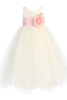 Polysilk Flower Girl Dress w. Ballerina Tulle Skirt & Custom Sash  BL228