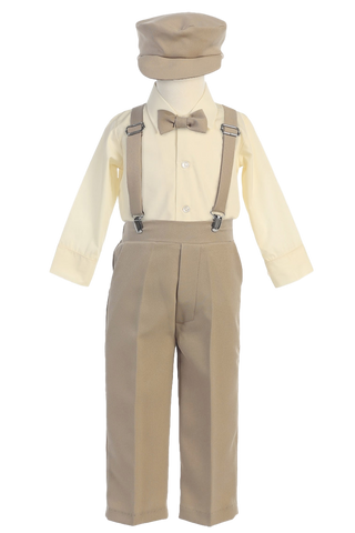 Khaki Tan Suspender Pants, Long Sleeve 5 Pc Outfit with Cap Boys (G829)