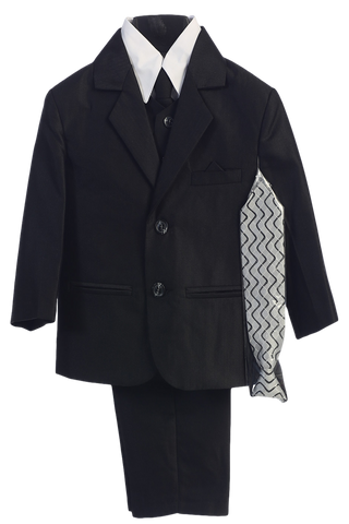 Black Herringbone Weave Complete Dress Suit Boys (3805)