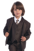 Chocolate Brown Single Breasted Dress Suit 5 Piece Boys (3710)
