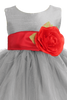Silver Tulle & Poly Silk Blossom Flower Girls Dress with Red Sash (BL228)