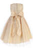BACK OF Gold Tulle Overlay & Cord Embroidered Girls Christmas Holiday Dress (C505)