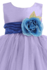 Lilac Tulle & Poly Silk Blossom Flower Girls Dress w Royal Blue Sash (BL228)