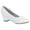 Wedge Heel White Dress Shoes with Side Bow Girls (GINA)