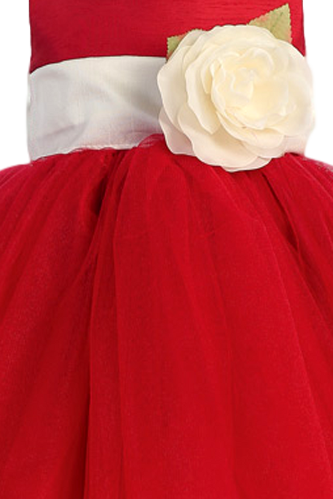 59310e97a8f Red Layered Tulle Flower Girl Dress with Custom Sash   Flower 6M-12Y ...