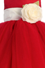 Red Tulle & Poly Silk Girls Christmas Dress w Ivory Sash (BL228)