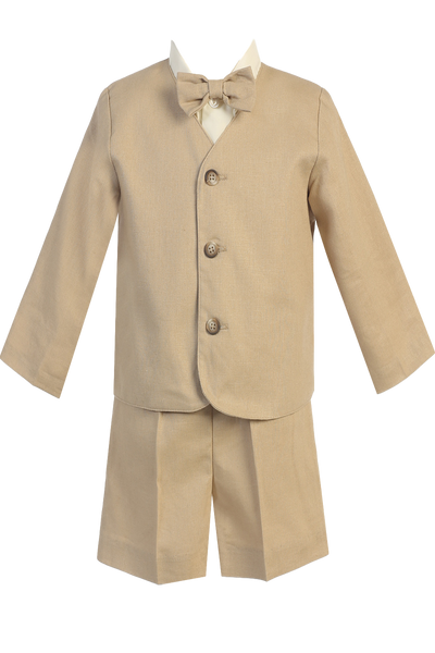 Boys Khaki Tan 4pc Linen Eton Jacket & Shorts Dresswear Set  G828