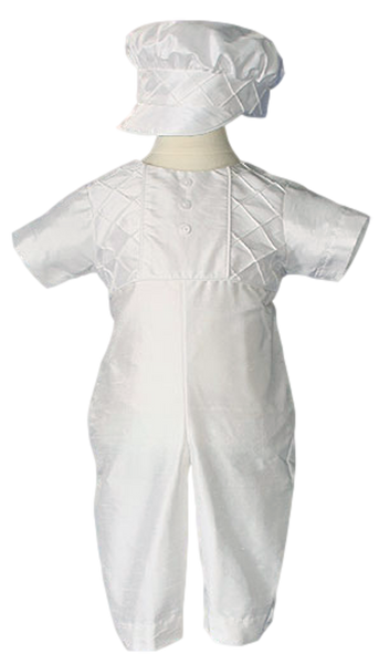 100% Silk Handmade Boys Christening Coverall Outfit (DP57CS)