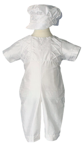 Baby Boys Lattice Pin Tucked 100% Silk Baptism Coverall & Hat  DP57CS