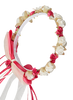 Fuchsia Silk Floral Crown Wreath w Satin Ribbons Girl (HB007)