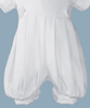 White Gabardine Baby Boys Baptism Layered Look Jumper Set w. Hat  GB201K
