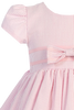 Pink Cotton Seersucker Little Girls Easter Spring Dress w Ribbon Trim (M668)