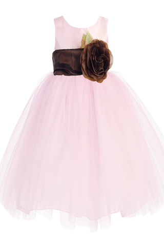 Pink Tulle & Poly Silk Blossom Flower Girls Dress w Chocolate Brown Sash (BL228)