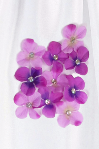 Purple Dimensional Flowers on White Shantung Baby Girls Dress (219-F)