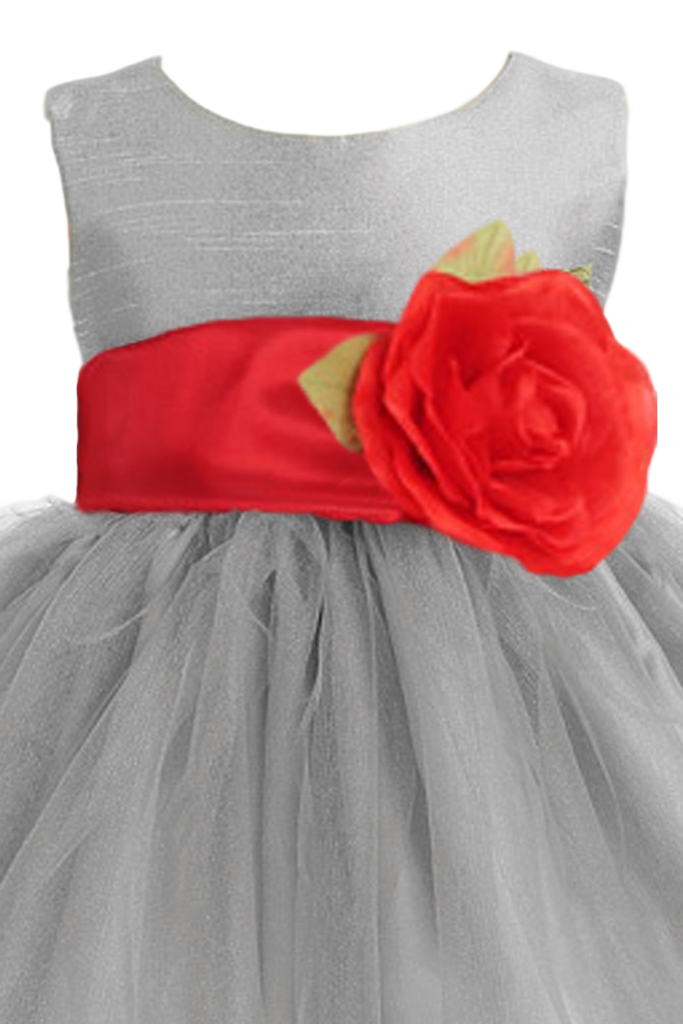 Silver layered tulle flower girl dress with custom sash flower 6m silver tulle poly silk blossom flower girls dress with red sash bl228 mightylinksfo
