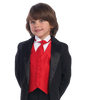 Red Poly-Silk Boys Vest & Tie Set  735