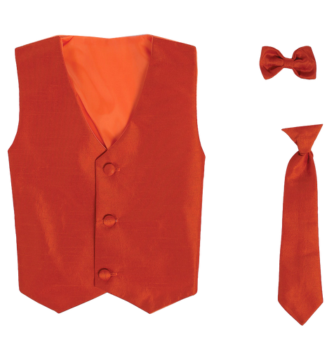Burnt Orange Vest & Tie Set Poly Silk 2 Pc with Choice of Necktie or Bow Tie