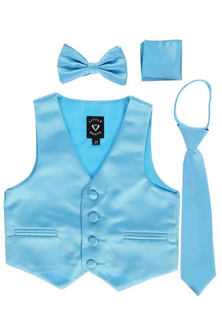 Aqua Blue Satin Boys 4-pc Vest Set w. Ties & Pocket Square  738