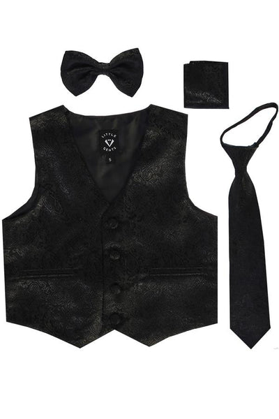 Black Paisley Satin Boys 4-pc Vest Set w. Ties & Pocket Square  738