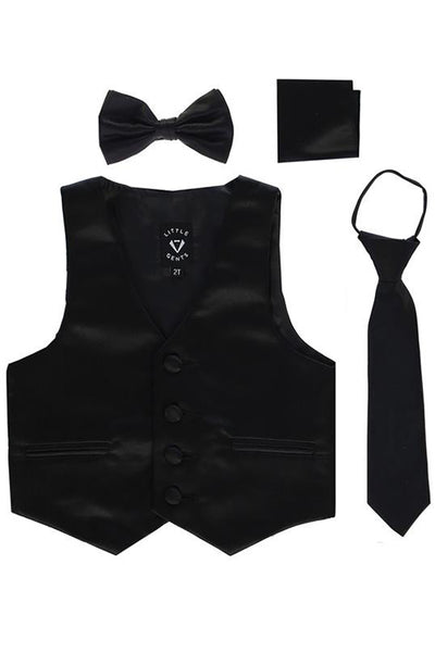 Black Satin Boys 4-pc Vest Set w. Ties & Pocket Square 738