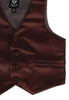 Brown Satin Boys 4-pc Vest Set w. Ties & Pocket Square  738