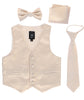 Champagne Satin Boys 4-pc Vest Set w. Ties & Pocket Square  738