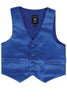 Royal Blue Satin Boys 4-pc Vest Set w. Ties & Pocket Square 738