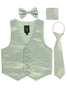 Sage Green Satin Boys 4-pc Vest Set w. Ties & Pocket Square 738