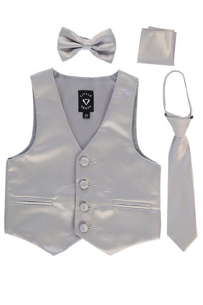 Silver Satin Boys 4-pc Vest Set w. Ties & Pocket Square 738