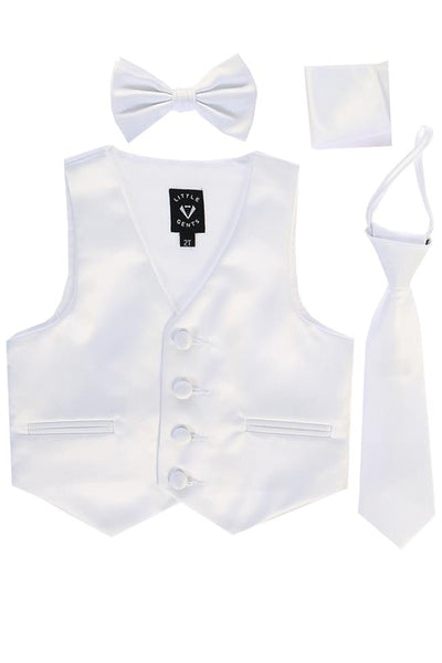 White Satin Boys 4-pc Vest Set w. Ties & Pocket Square 738