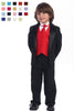Boys Black One-Button Tuxedo w. Polysilk Vest & Necktie in Color Choice 7510