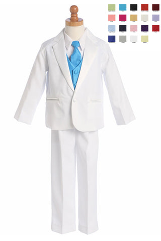 Boys White One-Button Tuxedo w. Polysilk Vest & Necktie 7510
