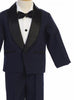 Navy & Black Contrast 4-pc Tuxedo Boys w. Shawl Collar Jacket  7580