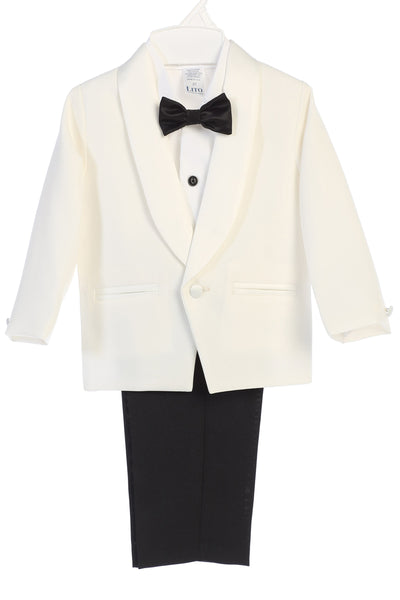 Ivory & Black Contrast 4-pc Tuxedo Boys w. Shawl Collar Jacket  7580