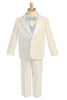 Boys Ivory 2-Button Tuxedo w. Vest & Bow Tie Color Choice 7595