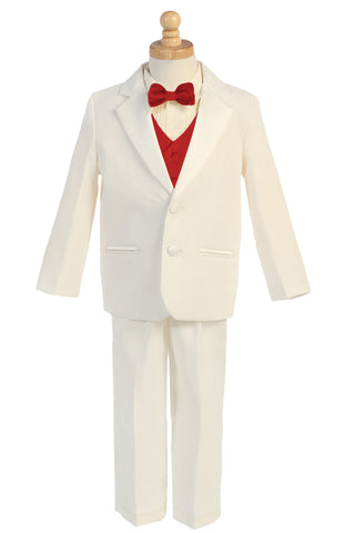 Boys Ivory 2-Button Tuxedo w. Red Vest & Bow Tie 7595