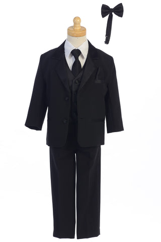 Boys 7pc Black Two Button Tuxedo w. Satin Vest & 2 Ties 7928