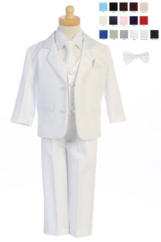 Boys 7pc White Two Button Tuxedo w. Satin Vest & 2 Ties 7928