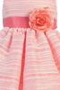 Coral Striped Organza Overlay Easter Spring Dress w Satin Sash (Baby 3 Months - Girls Size 10)