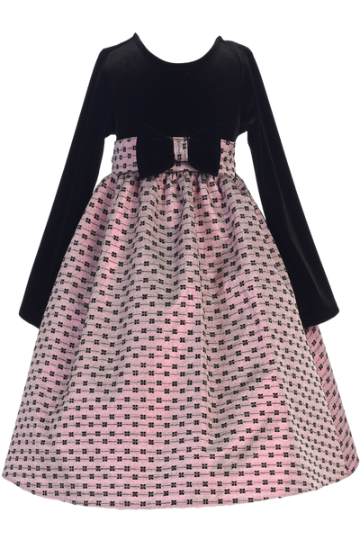 Black Velvet Girls Holiday Dress w. Pink Bow Design Jacquard Skirt  C991