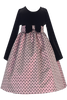 Black Velvet Girls Holiday Dress w. Pink Bow Design Jacquard Skirt 6M-12 (C991)