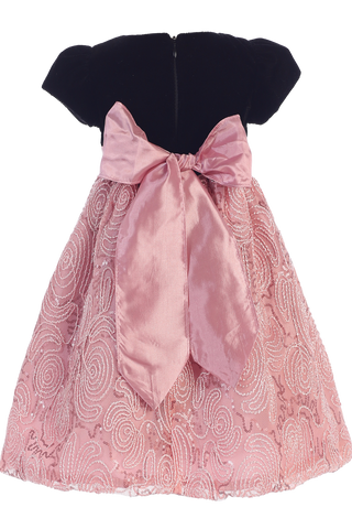 Dusty Rose Corded Tulle & Black Velvet Girls Christmas Holiday Dress (C997)